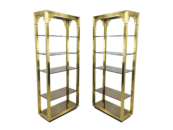 #2895 Pair of Brass Etageres with Smoke Glass Shelves