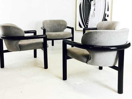 #2673 Pair of 3 Legged Lacquered Lounge Chairs (2 sets of pairs available)