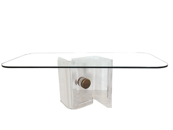 #2590 Lucite&Brass Dining Table Base w Glass Top