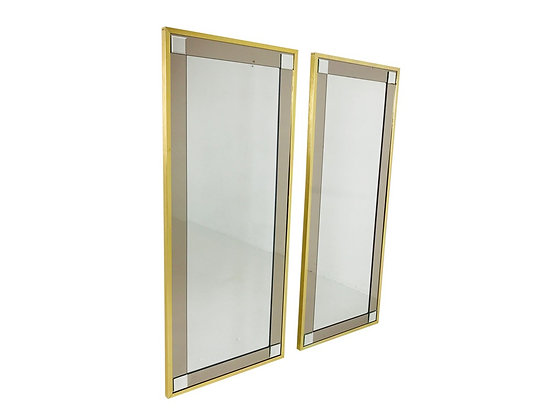 #3166 Pair of Brass Framed Mirrors with Smoke Glass Surround