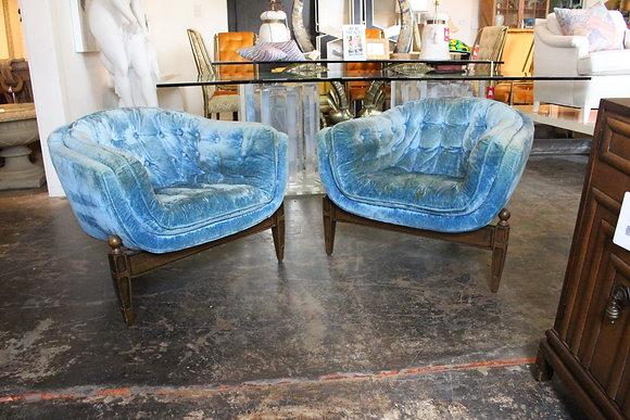 #1036 Pair Blue Velvet 3-Legged Chairs