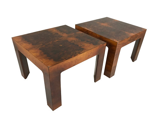 #3467 Pair of Burl Wood Side Tables in the Style of Milo Baughman