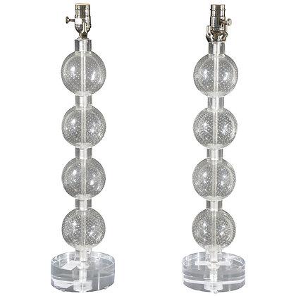 #4877 Pair Czech Clear Blown Crystal Lamps