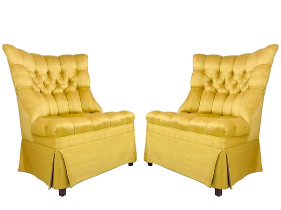 #4304 Pair of Canary Yellow Tufted Slipper Chairs