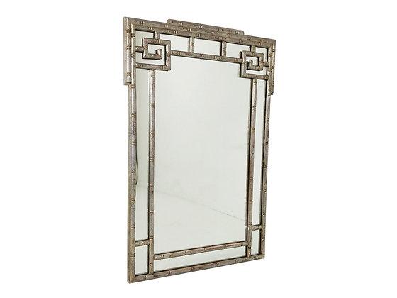 #2970 Faux Silver Leaf Greek Key Mirror