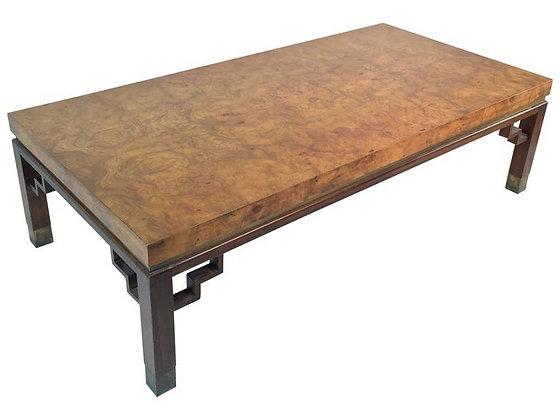 #1641 Burl Wood Coffee Table w/Rosewood Legs