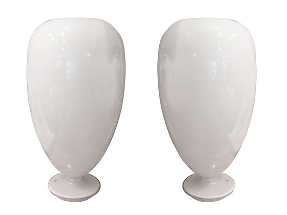 #2964 Pair of White Glass Table Lamps