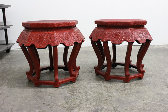 8577 Pr Octagonal Red Lacquer Carved Asian Stools