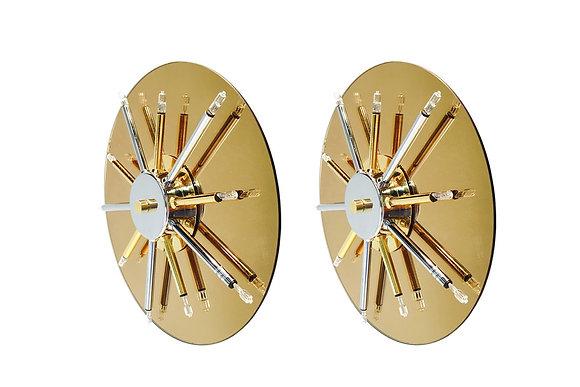 #1878 Pair Round Mirror Sconces