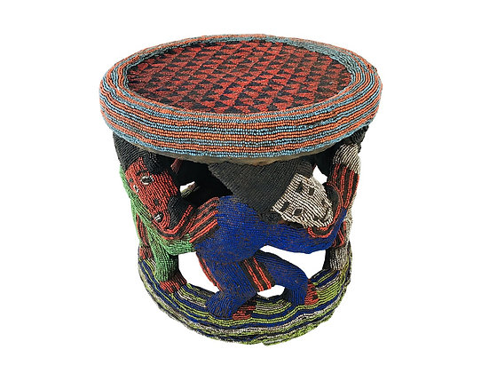 #3666 Round African Beaded Side Table