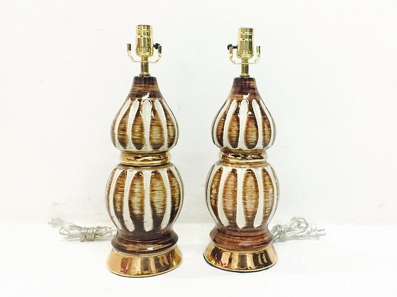 #2767 Pair White & Brown Glazed Lamps