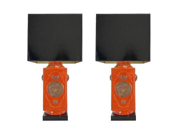 #4146 Pair of Square Asian Table Lamps