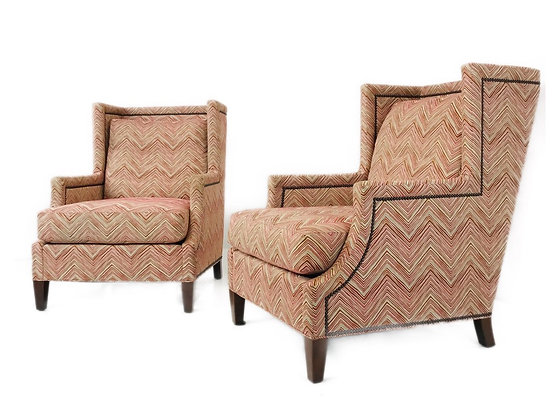 #4692 Pair of Chevron Wingback Chairs