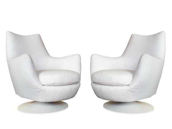 #2378 Pair Milo Baughman Swivel Chairs Tulip