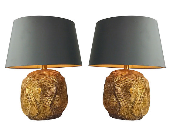 Pair of Gold Studded Cobra Table Lamps