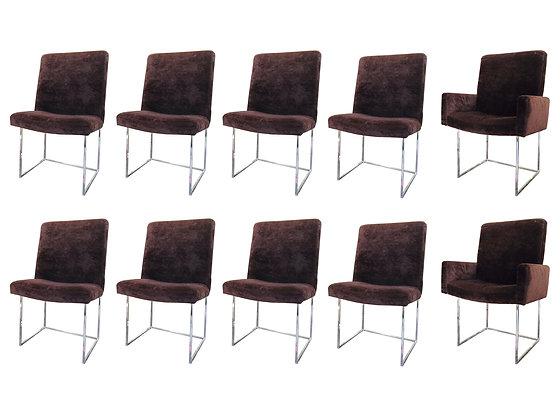 #2489 Set of 10 Milo Baughman Dining Chairs
