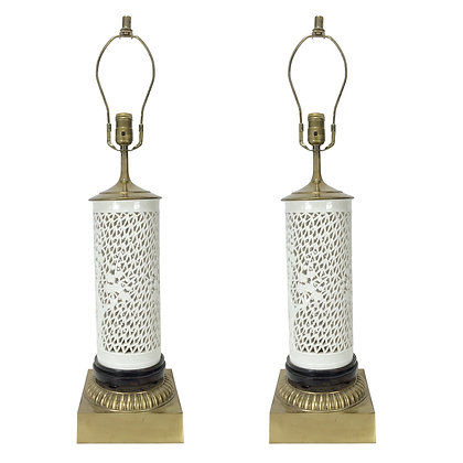 #3938 Pair White Chinoiserie Lamps