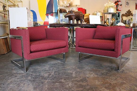 8514 Pair Milo Baughman T-Back Chairs
