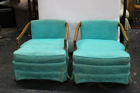 #8026 Pair Turquoise MCM Lounge Chairs