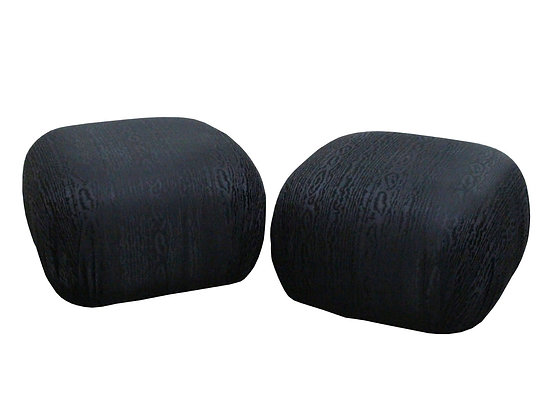 #2707 Pair Black Woodgrain Upholstered Pouffs on Casters