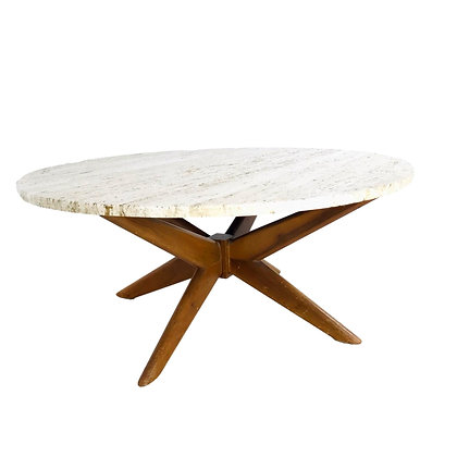 #5411 Starburst Base Coffee Table with Travertine Top