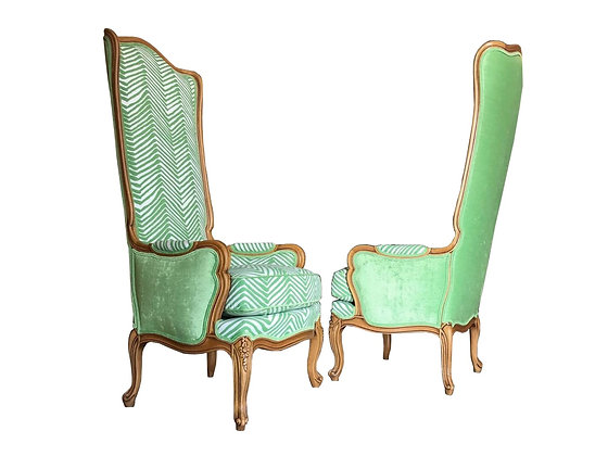 #3184 Pair Hollywood Regency Tall Wingback Chairs in Style of Marge Carson