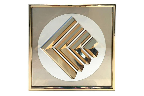 #1480-769 Framed Decorative Mirror with Brass Foil