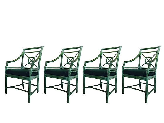 #2838 Set of 4 Green McGuire Dining Chairs