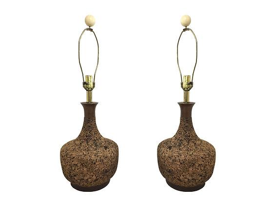 #3046 Pair of Cork Lamps