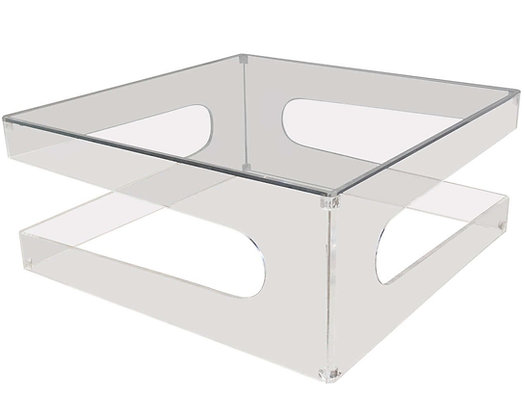 #2519 Lucite Coffee Table with Side Cut Outs