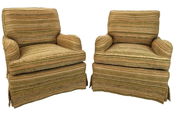 #1642 Pair Rolled English Arm Chairs