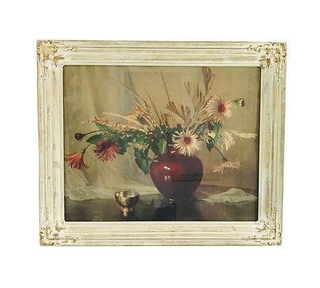 #5060 Vintage Cinnabar Vase Floral Art