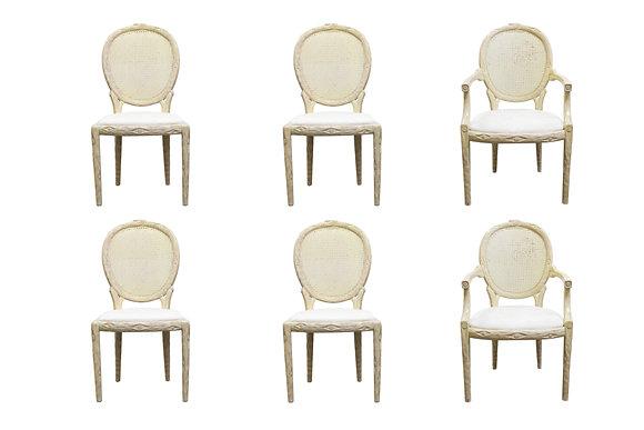 #1135 Set 6 Faux Bois Chairs