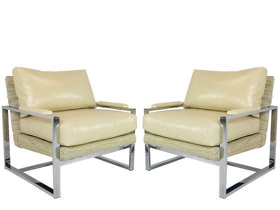 #4328 Pair of Chrome Milo Baughman Lounge Chairs