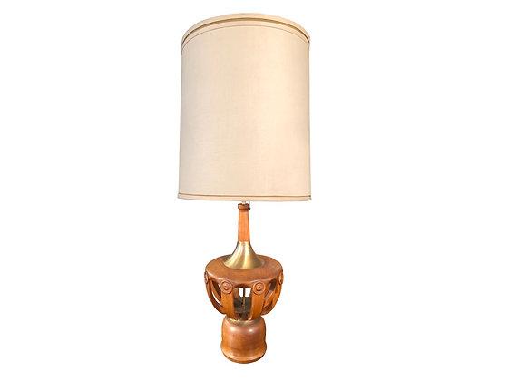 #8814 Single Wood & Brass Lamp