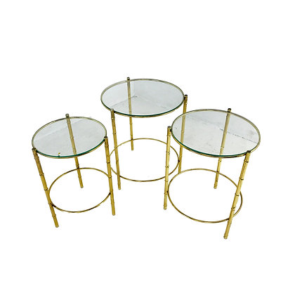 #4912 Set of 3 Brass Nesting Tables w/ Glass Tops