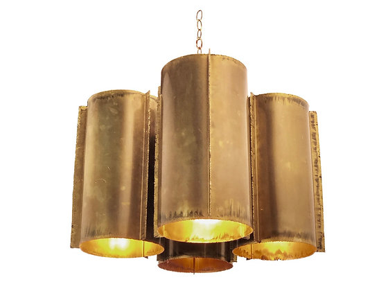 #2846 Brass Brutalist Tube Pendant with a Cluster of 4 Tubes
