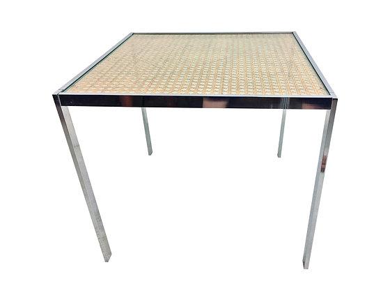 #2483 Square Chrome & Cane Game Table