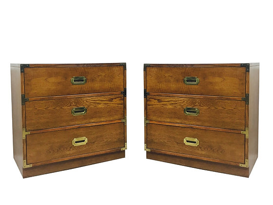 Pair of Campaign Style Chest by Bernhardt