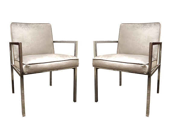 #1444 Pair Chrome Armchairs with Silver Velvet ( 2 sets of pairs available )