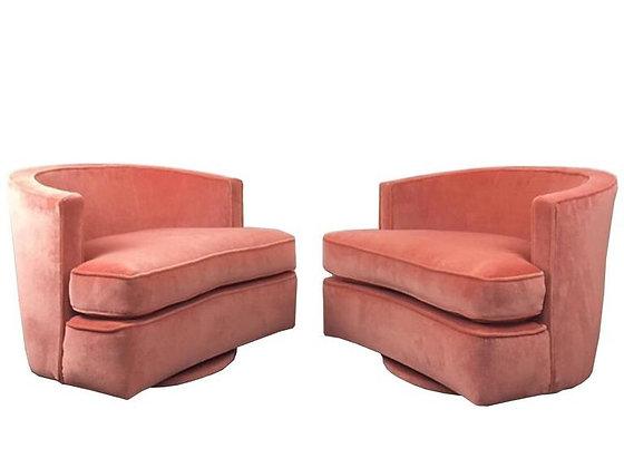 #2435 Pr Pink Velvet Swivel Harvey Probber Chairs