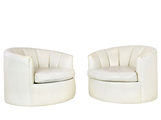 #4050 Pair of Round Swivel Channel Back Chairs