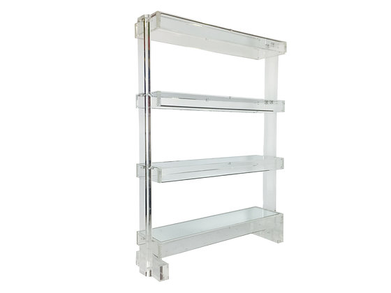 #2440 Monumental Lucite & Mirror Shelving Unit