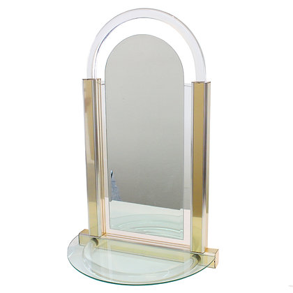 #7264 Lucite & Brass Wall Mounted Mirror