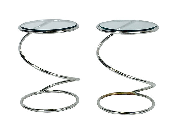 #2534 Pr Chrome Spiral Side Tables by Pace