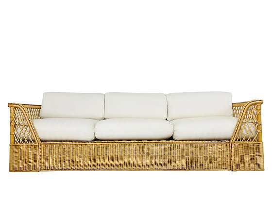 #3683 Rattan McGuire Sofa With Cream Upholstery