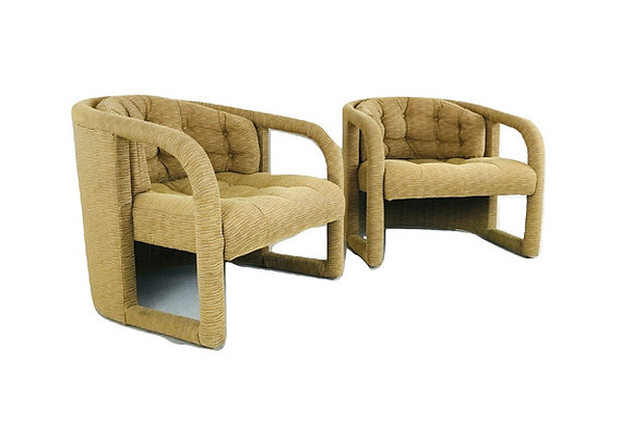 #5156 Pair Cut Out Armchairs in the Style of Milo Baughman