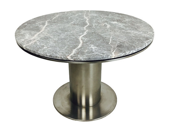 #2869 Modern Stainless Steel & Marble Dining Table by Brueton Industries