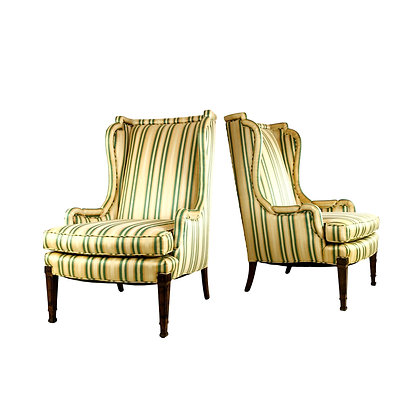 #5287 Pair of Striped Wingback Chairs