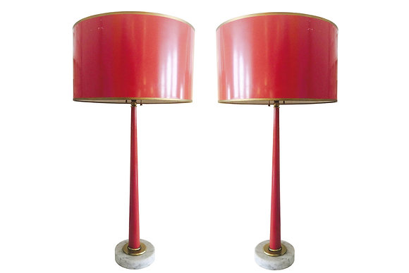 #2360 Pair 1960s Red Lacquer Lamps and Shades